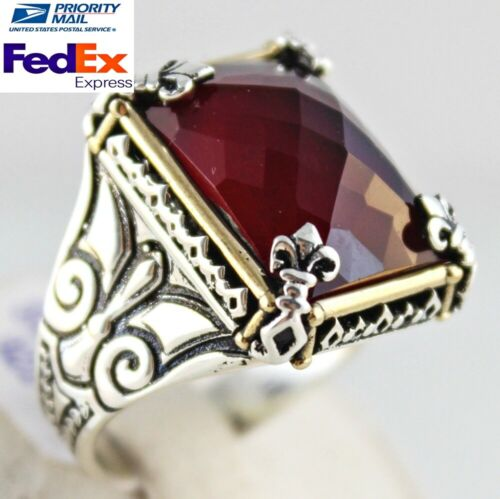 Turkish handmade 925 Sterling Silver red ruby stone Mens man ring ALL SİZE #4187