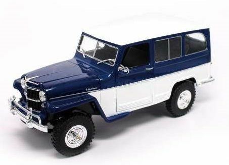 Willys Jeep blu   bianca 1 18 Model LUCKY DIE CAST