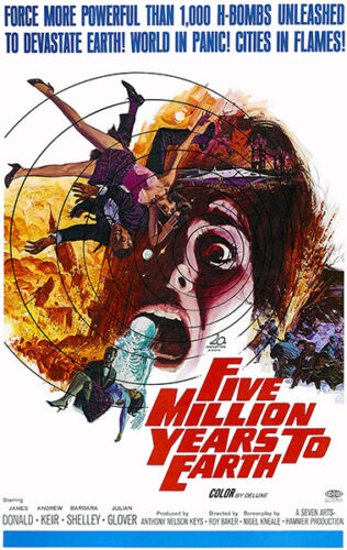 1967 Movie Poster Five Million Years To Earth