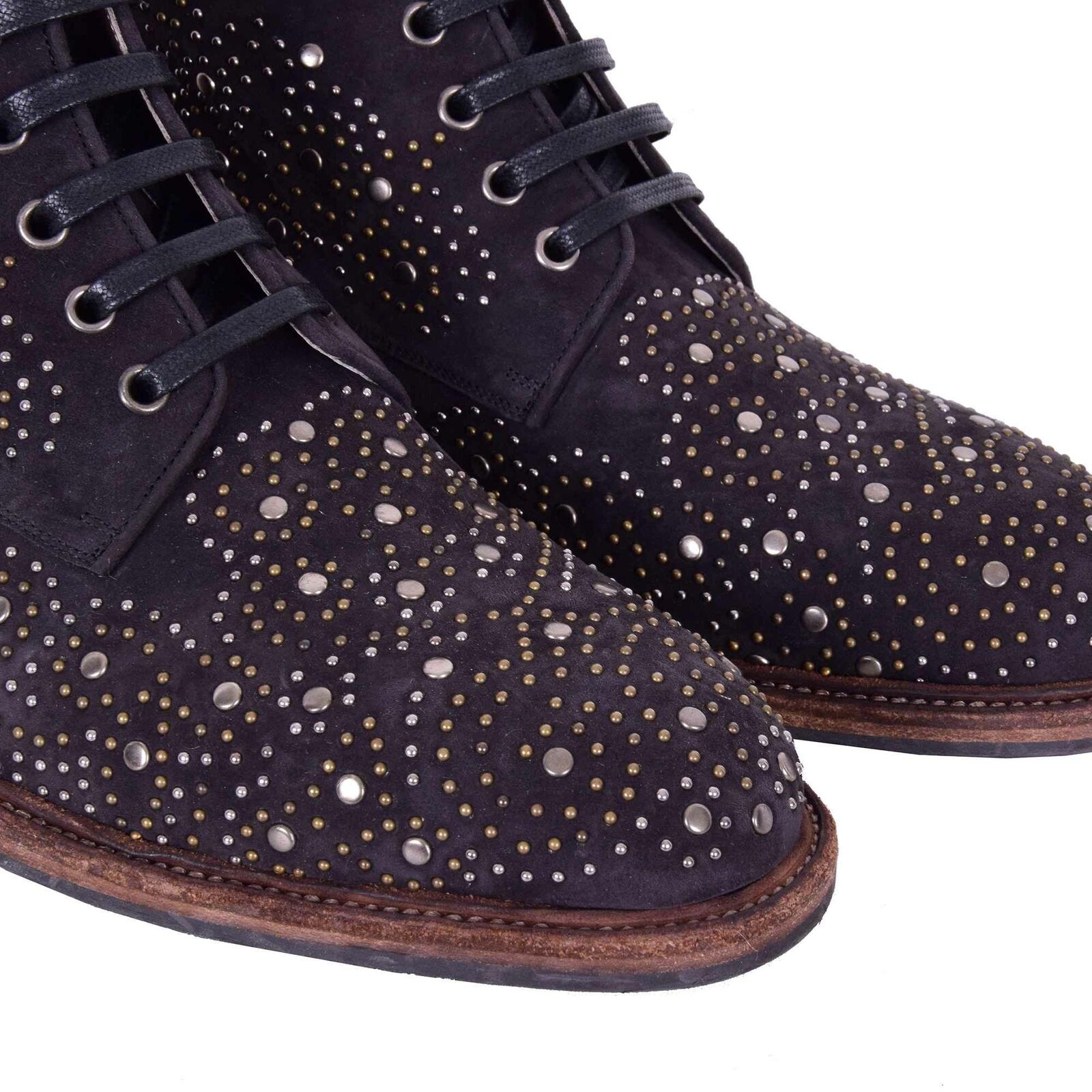 DOLCE & GABBANA Studded Suede Chelsea Ankle Boots MARSALA Brown 44 US 11 08160