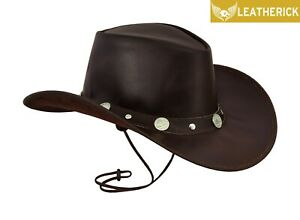 Real-Leather-Conchos-Studded-Cowboy-Western-Style-Bush-Hat-Removable-Chin-Strap
