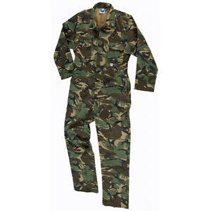 Castle CAMOUFLAGE Adult  Overalls CAMO Coveralls Boilersuit ALL SIZES Stud Front