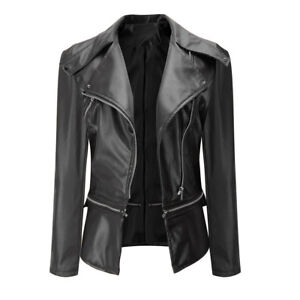 Women Vintage Biker Overcoat Motorcycle Leather Zipper Jacket Overcoat Outwear