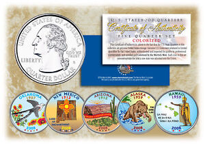 2008-US-Statehood-Quarters-COLORIZED-Legal-Tender-5-Coin-Complete-Set-w-Capsules