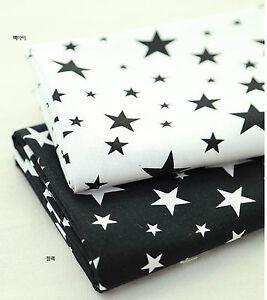 Star-star-100-Cotton-fabric-Oxford-BY-YARD-Scandinavian-Black-White-stars-JB89