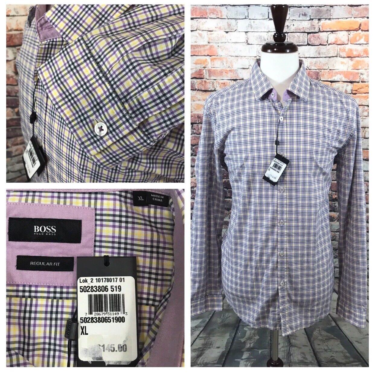 Hugo Boss Plaid Flip Cuff Long Sleeve lila Gelb Regular Fit XL  Herren Shirt