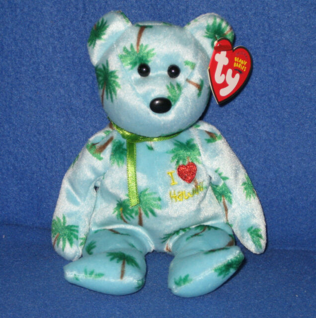 Two Hawaiian Ty Beanie Baby Bears I Love Hawaii and Alana. MWMT for ... 40ddbdd4f18