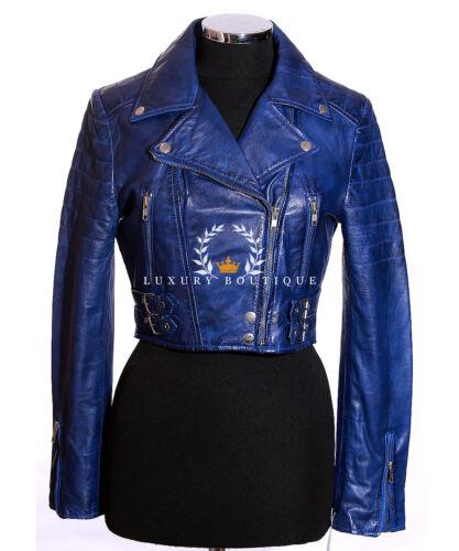 Fashion de Sheep cuero Nappa corta para mujer Biker Faded Chaqueta Cut Missy Blue zqPnSw5wZ