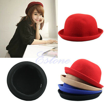 Fashion Lady Womens Vogue Vintage Wool Cute Trendy Solid Bowler Derby Hat