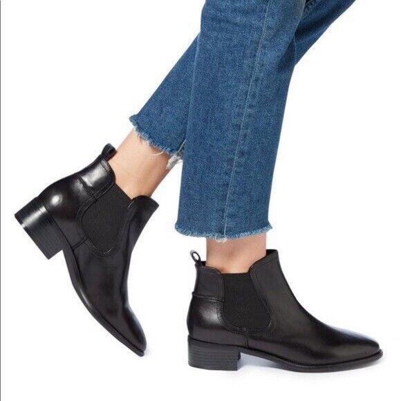 Steve Madden inciertas Negro Cuero Chelsea botas