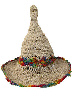 New Hemp and Cotton Wire Rim Rainbow Festival Hat