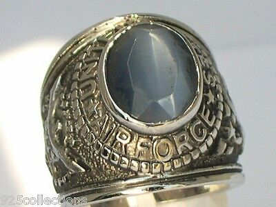 United States Air Force Gray Stone Tiger Eye Military Men Rhodium Ring Size 9
