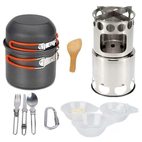 Outdoor Camping Wood Stove Hiking Cookware Cooking Picnic Bowl Pot Pan Set H1