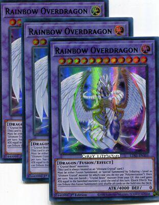1st Ed Mint Yugioh LDS1-EN101 Rainbow Overdragon Purple Ultra Rare