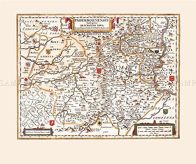 MAP ANTIQUE AMMAN 19TH CENTURY SWABIA RADOLFZELL REPLICA POSTER PRINT PAM0522