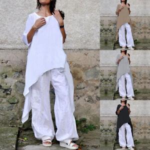 bc0ca28c6fa Women Cotton Tunic Top Tee Shirt Long Sleeve Casual Baggy Swing Plus ...