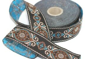 costume trim authentic Jacquard trim Jacquard border 35 mm-1.25 inches metallic gold Jacquard ribbon