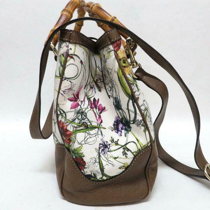 Gucci Diana Canvas Flower Bamboo 2Way Hand Should… - image 3