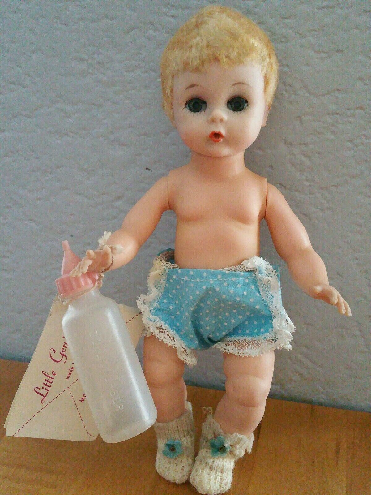 Vintage Madame Alexander Little Genius in Outfit w  Wrist Tag & Bottle