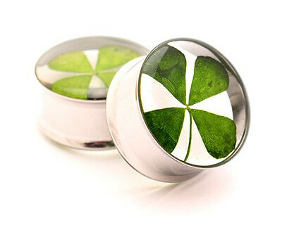 Pair of REAL 4 Leaf Clover Plugs gauges Choose Size new