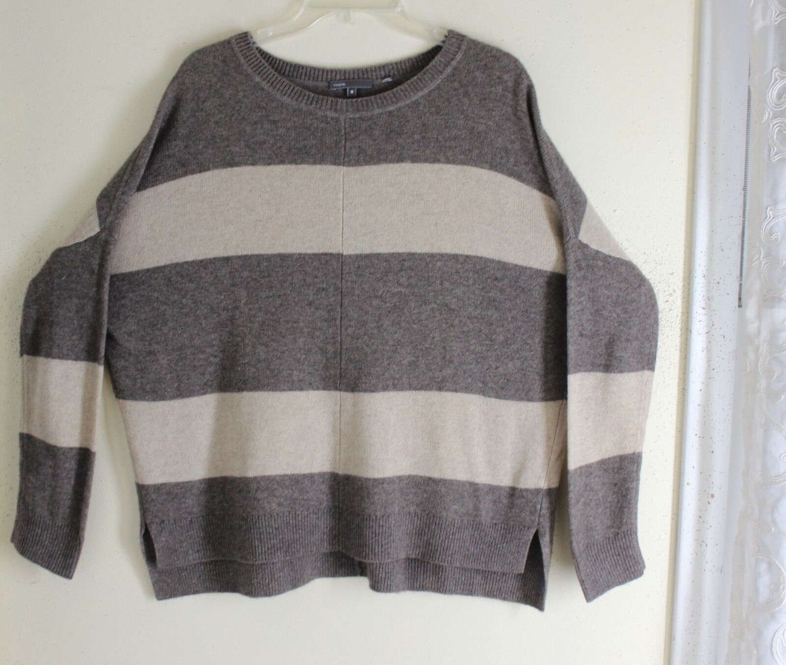 VINCE -Sz  M Boxy 50% Yak 50% Merino Boxy Lagenlook STRIPE oversized Sweater