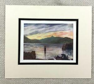 1905-Antique-Print-Sundal-Norway-Norwegian-Sunset-Landscape-Painting