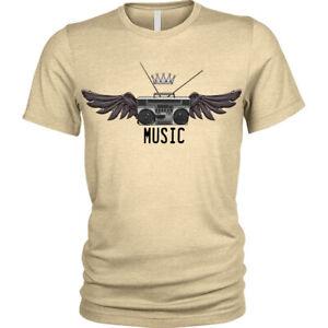 Musica-Radio-Ali-Boombox-Stero-Retro-Corona-T-Shirt-Maglietta-da-Uomo