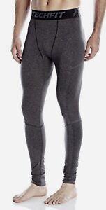 Adidas techfit primeknit compressione formazione calzamaglia pantaloni lunghi grigio