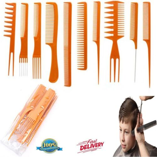 10 piece Hair Styling Comb Set Professional Orange Hairdressing Brush Barbers
