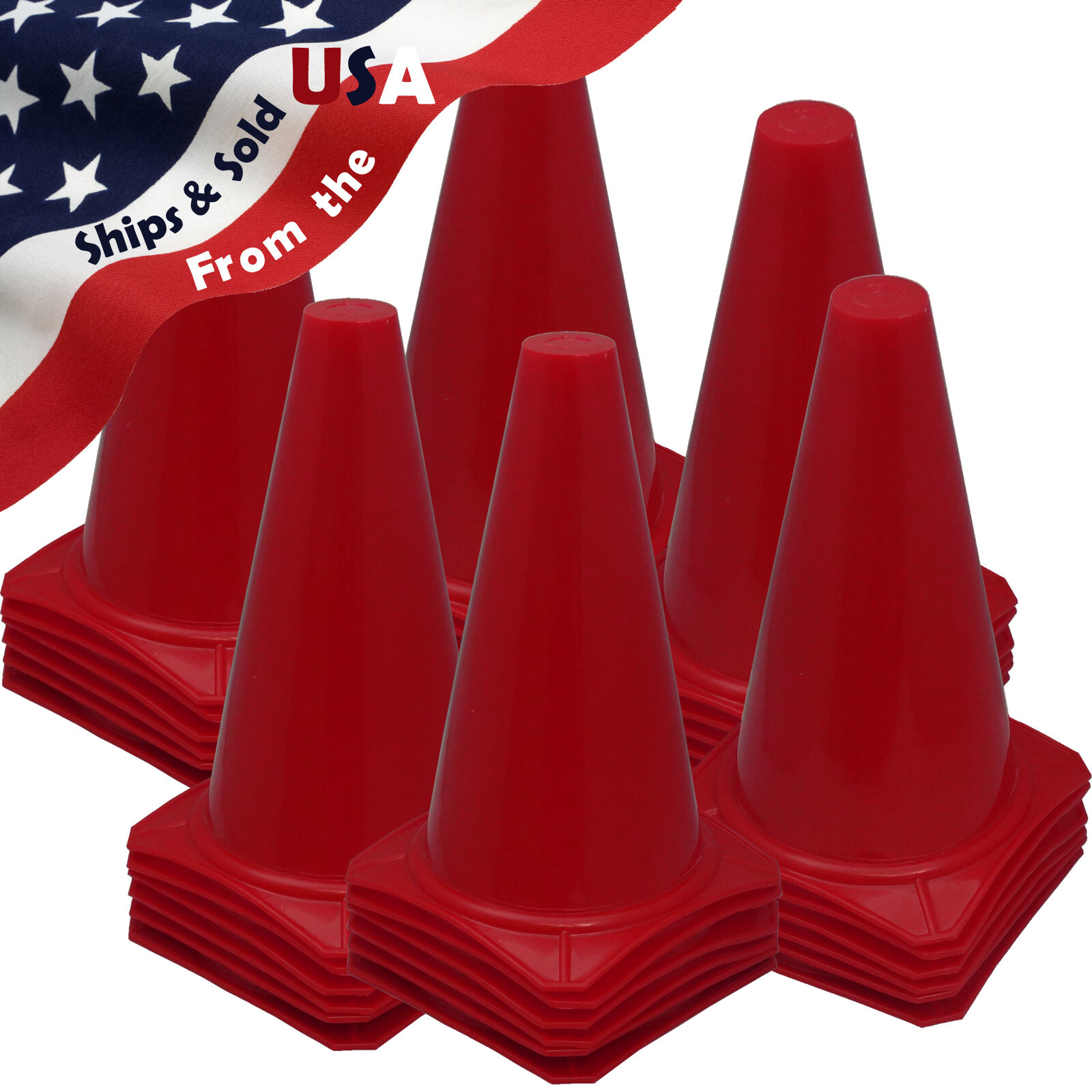 Qty 36  9  Football Training Pitch Marker Traffic Cone Field Agility Cone RED
