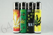 4 pcs New Refillable Clipper Full Size Lighters Hojas Maria Collection