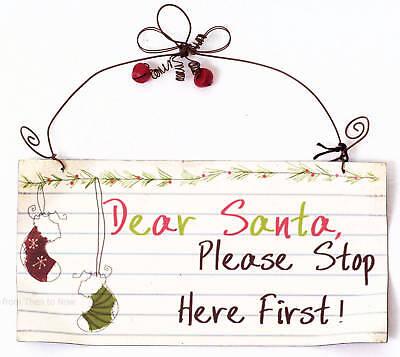 Genereus Chic & Shabby Dear Santa Please Stop Here First Metal Sign Christmas Xmas Plaque Om Hinder Uit De Weg Te Ruimen En De Dorst Te Lessen