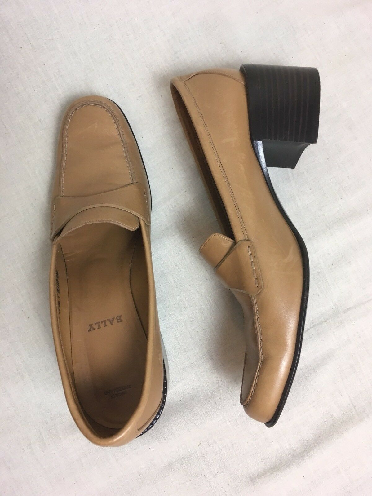 Vintage Donna's BALLY Loafers All Pelle Camel Block Heel Donna's Vintage Sz 8 (Made in Italy) 1a230f