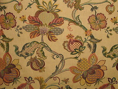 Jacobean Garden Gold Woven Tapestery Jacquard Curtain Upholstery Designer Fabric