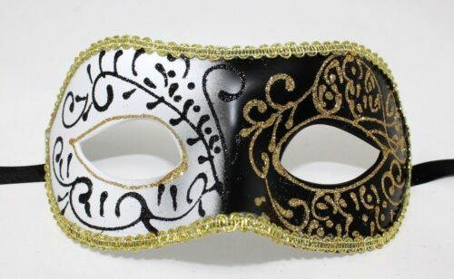 Midnight Black and White Venetian Masquerade Carnival Ball Party Eye Mask