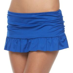 Image is loading Apt-9-Cobalt-Blue-Ruched-Ruffled-Skirt-Bottoms-