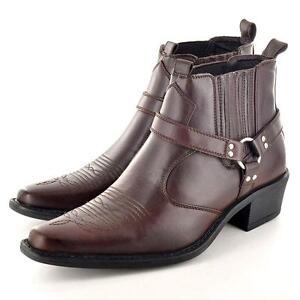 Para Hombre Tobillo Botas de Vaquero Biker Nuevo Arnés occidental Smart Chelsea Botas Zapatos Talla