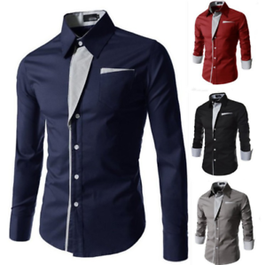 Fashion-Men-039-s-Lapel-Shirts-Blouse-Business-Long-Sleeve-Slim-Cotton-Blend-Tops
