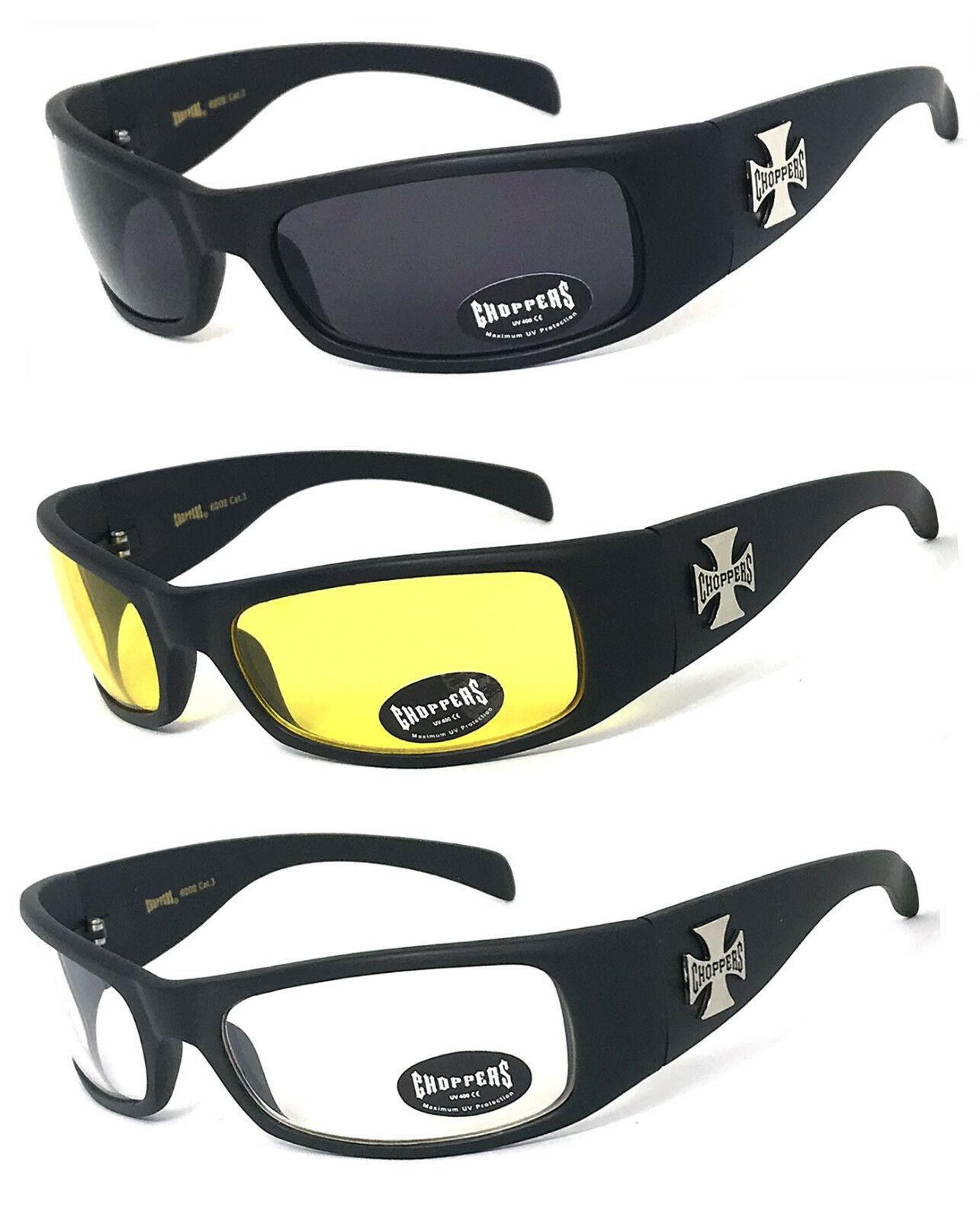 3 PAIR COMBO Chopper Sunglasses Motorcycle Glasses Smoke Yellow /& Clear Lens C50
