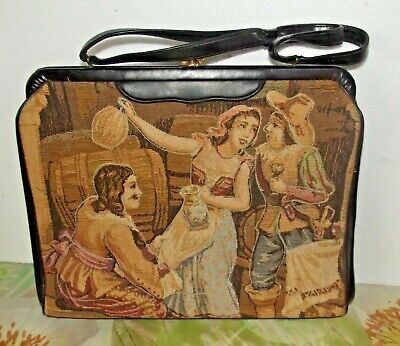 Aggressivo Soure' De New York énorme Cartable Sac Trapunto Tapisserie Colonial 1960