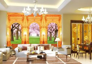 3D golden Pillar Cherry Blossom Wall Paper Wall Print Decal Wall AJ WALLPAPER CA