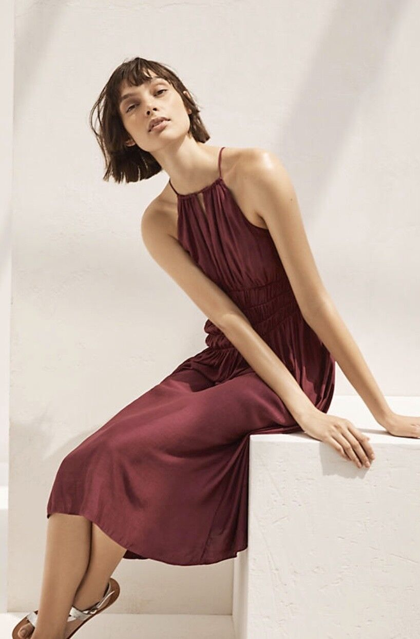 NEW Anthropologie Moulinette Souers wine plum Silky Ruched Halter Midi Dress 4