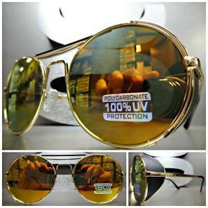 CLASSIC VINTAGE 50s RETRO BLINDER Style SUN GLASSES Round Gold Frame Mirror Lens