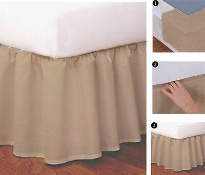"Navy Tailored Easy-to-Use Wraparound Bed Skirt Split Corner Design,14/"" Drop"