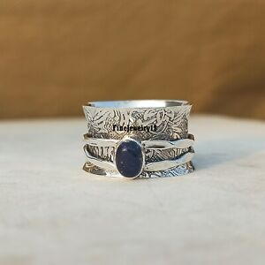 Lapis-lazuli-925-Sterling-Silver-Spinner-Ring-Meditation-Statement-Jewelry-A221