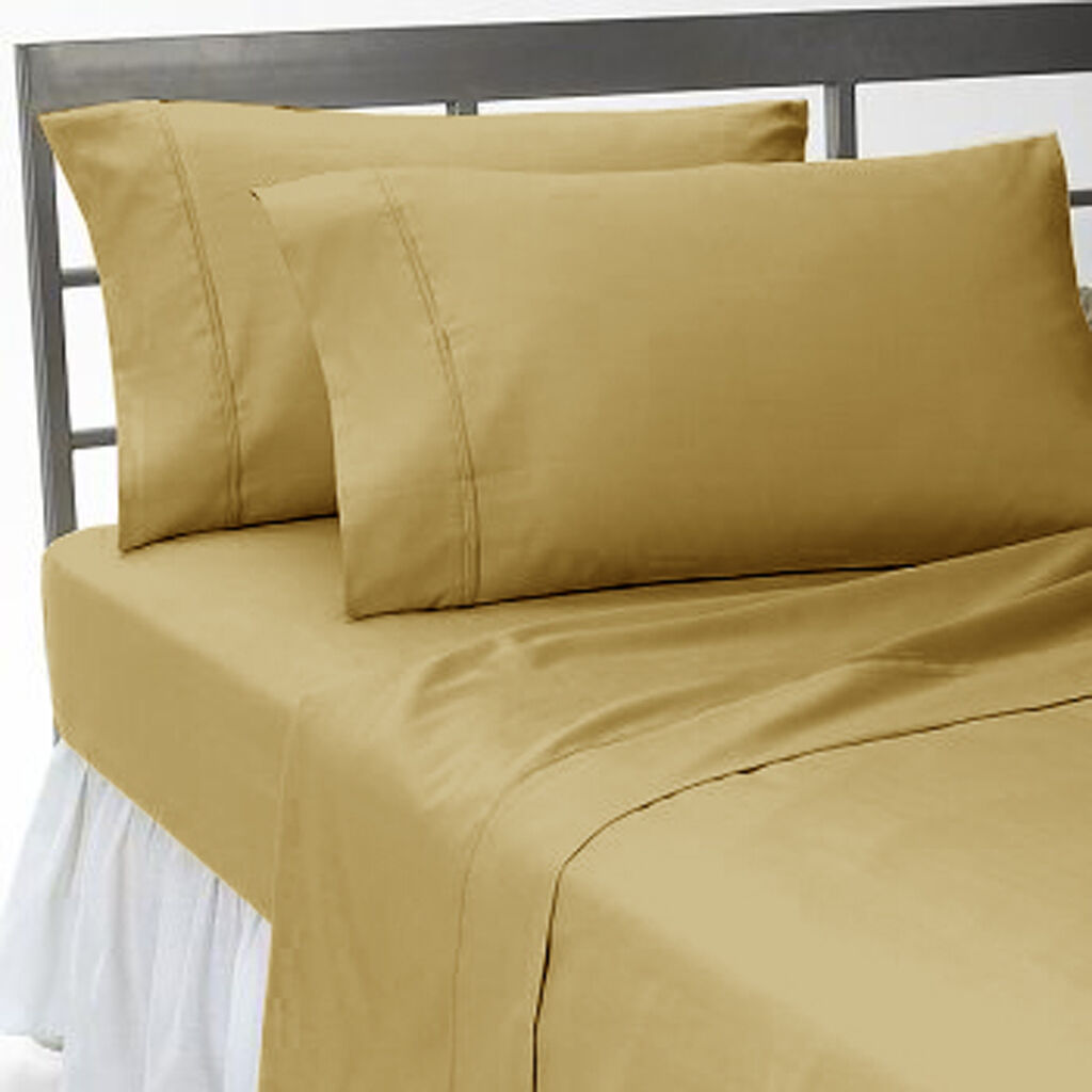 1000 TC EGYPTIAN COTTON COMPLETE BEDDING SET 5 PCs SPLIT SHEET SET TAUPE COLOR