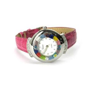Murano-Uhr-Damen-Armbanduhr-pink-Murano-Glass-Strass-Damenuhr-Armband-Leder