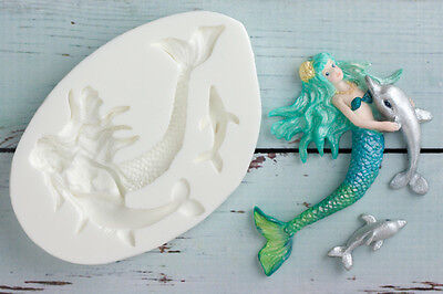 Silicone Mould Mermaid with Baby Dolphin,  Food Safe ,Ellam Sugarcraft  M115