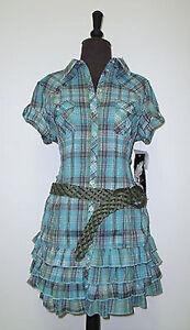 NWT Tillys YMI Plaid green gold metallic line Mini dress ruffle skirt SZ M