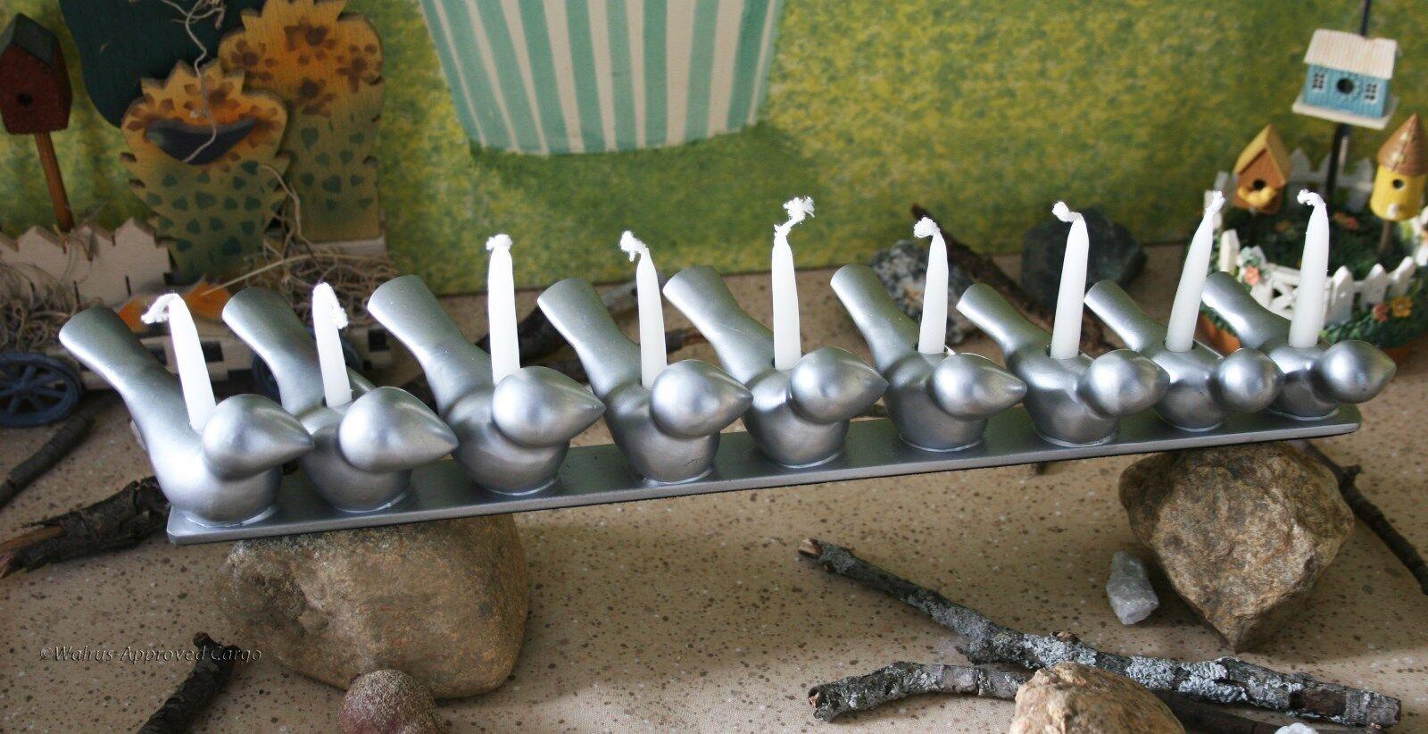 CRATE & BARREL KIDS LITTLE BIRDS MENORAH CANDELABRA NIB LIGHT THE WAY TO FUN